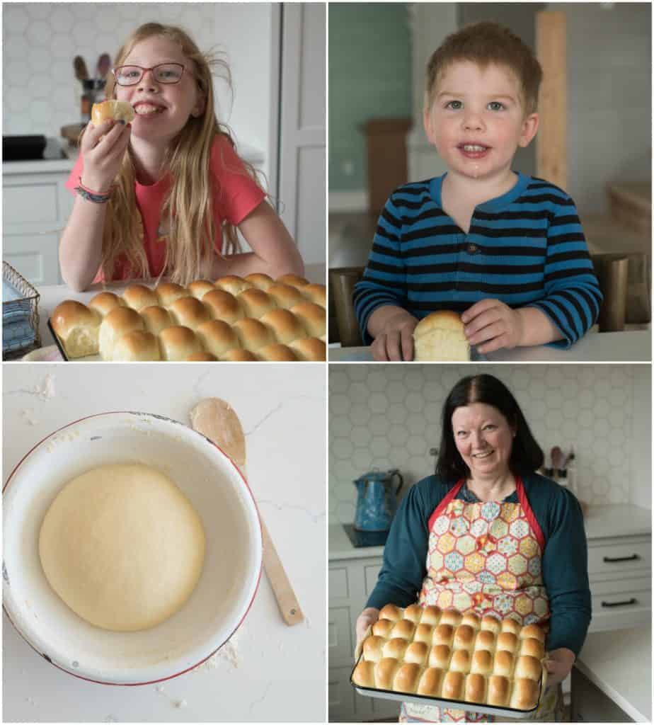 a collage of kids and some fresh baked rolls
