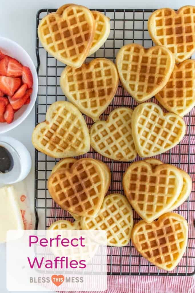 This classic Basic Waffles recipe yields a rich batch of waffles that have a perfect crunch on the outside with a soft and moist interior. (Heart waffle iron encouraged but not required!)