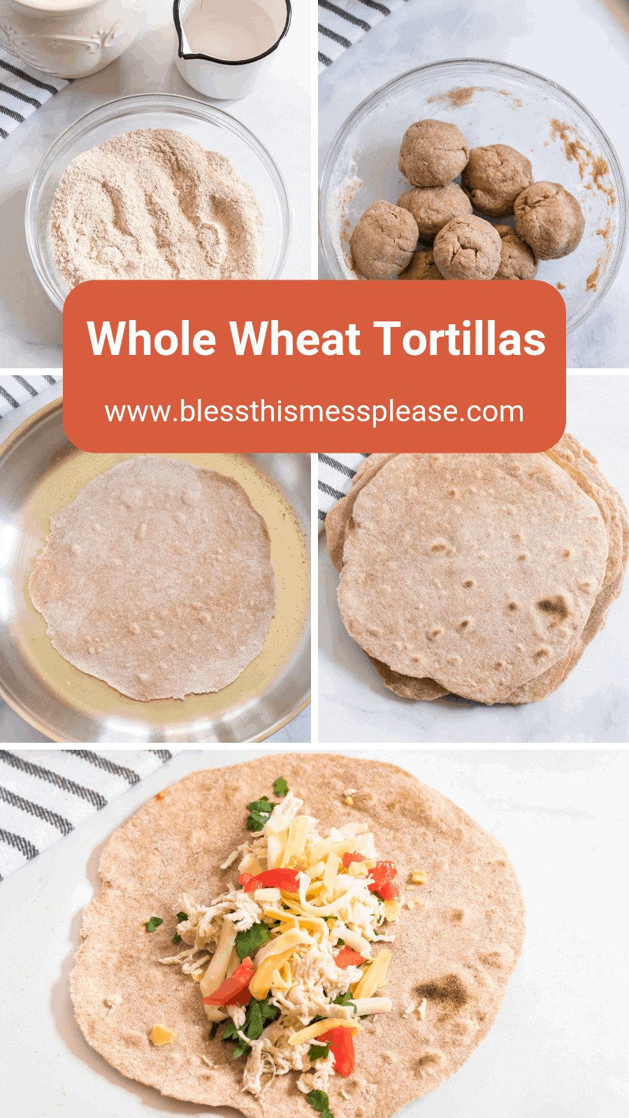 Hearty and healthy, whole wheat tortillas are beyond simple to make and go great with bold flavored wraps, tacos, and gyros!