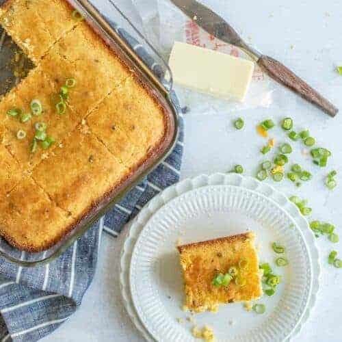 Homemade Cornbread with Cheese and Green Onions
