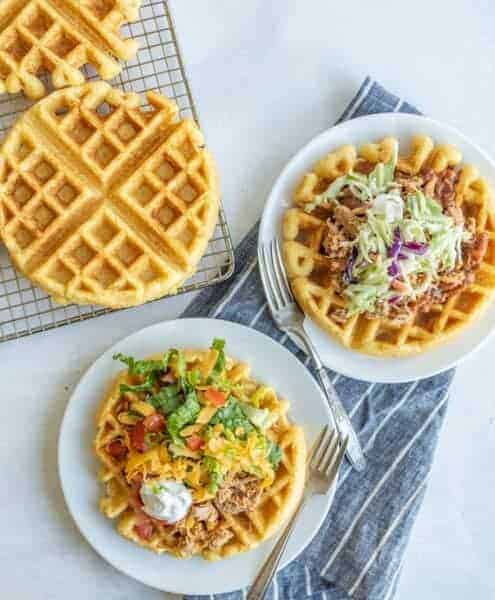 Cornbread waffles have a nice crunch on the outside with a soft, slightly crumbly inside, and they are a fun remix of the traditional savory bread that goes great with chili, barbecue, or just a swipe of simple honey butter.