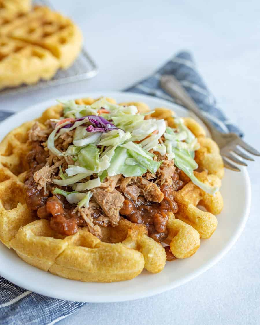 Cornbread Waffles with Pulled Pork, Beans, and Slaw Recipe
