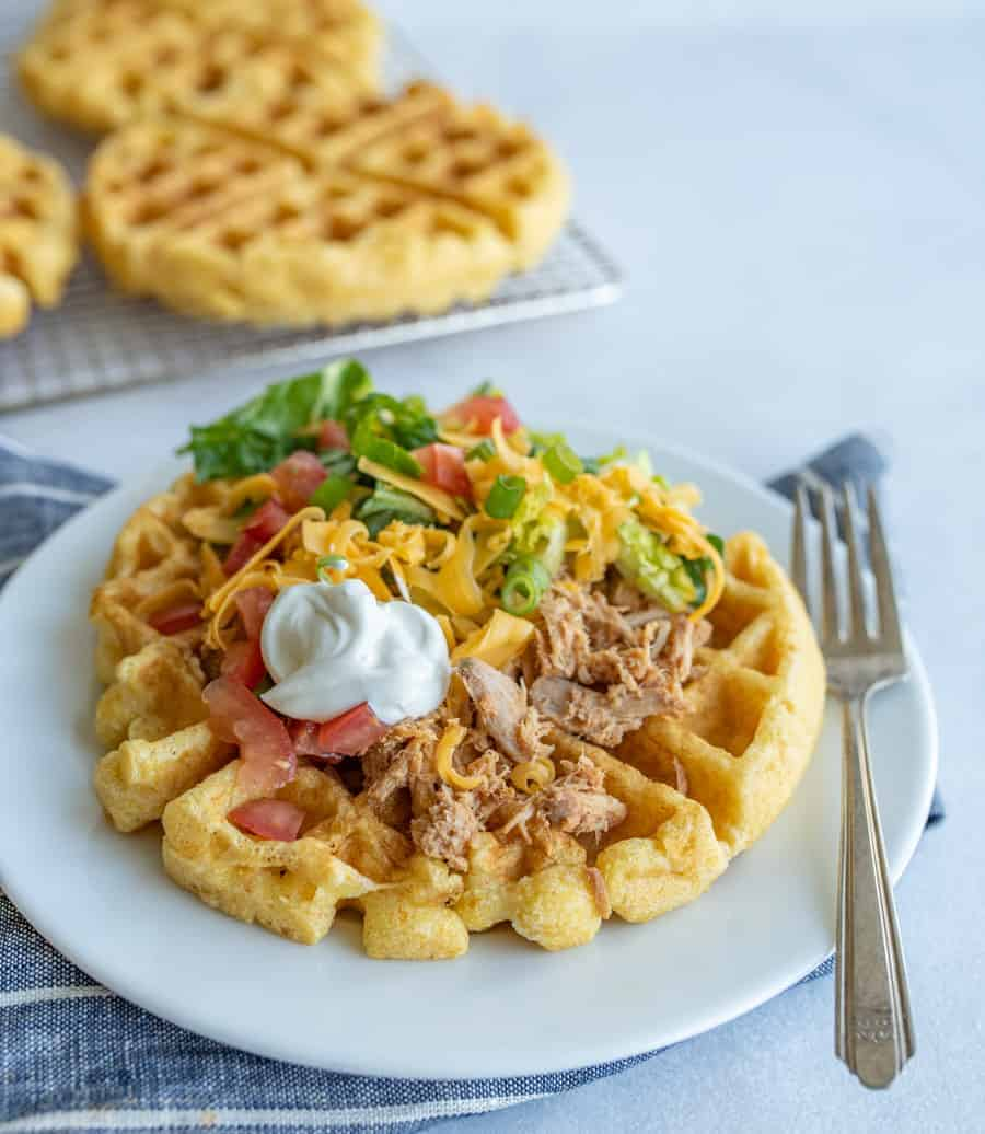 The Best Taco Topped Cornbread Waffles