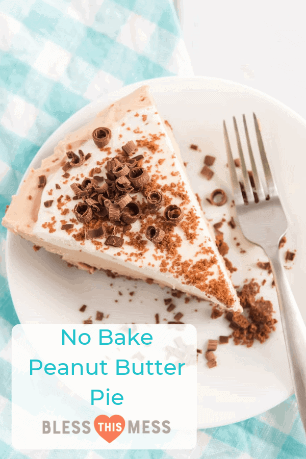 Creamy and chock-full of peanut butter, this No Bake Peanut Butter Pie has a chocolate crust and chocolate shavings on top to finish things off with perfection!