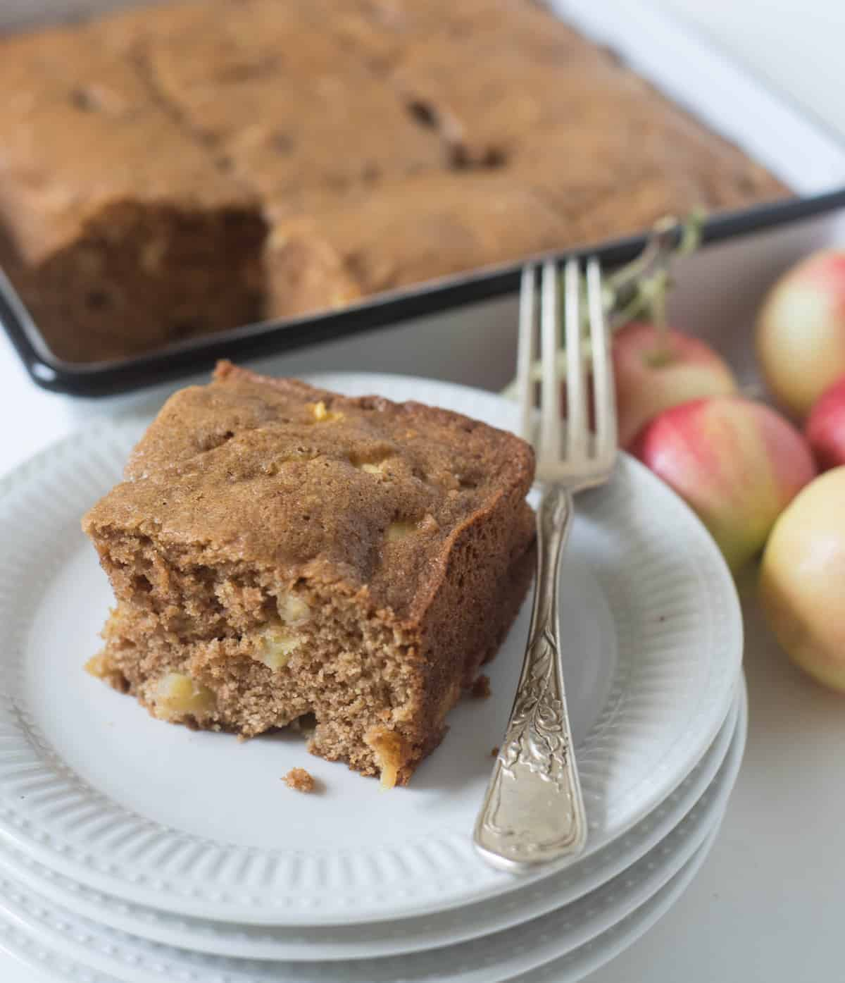 The best easy apple cake is made with fresh chopped apples, whole wheat flour, eggs, and a few other simple ingredients you already have on hand!