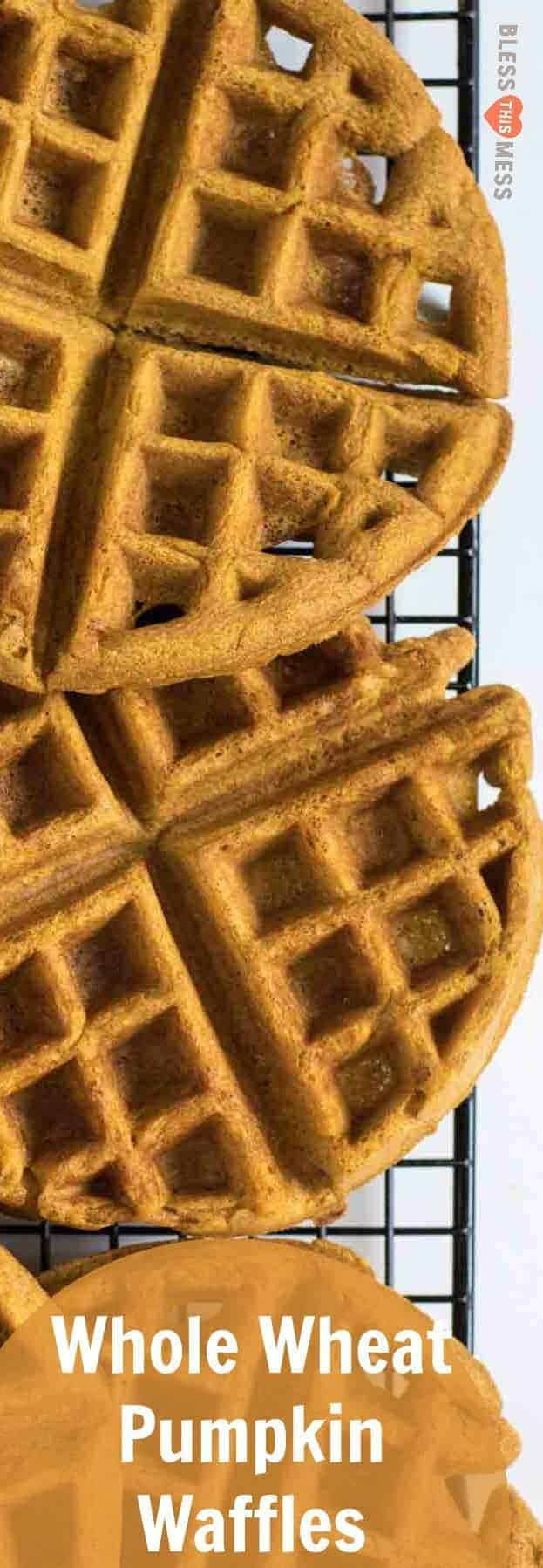 Perfect light and fluffy whole wheat pumpkin waffles for a healthy breakfast all fall long.