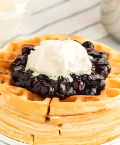 My mom's blueberry topping for waffles, pancakes, or ice cream (or anything else your heart desires!) is so fun, fresh, and sweet, making it the perfect addition to so many breakfast and dessert favorites!