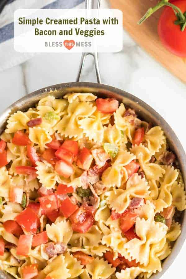 Title Image for Simple Creamed Pasta with Bacon and Veggies and a skillet of bowtie pasta with diced tomatoes, green pepper and bacon