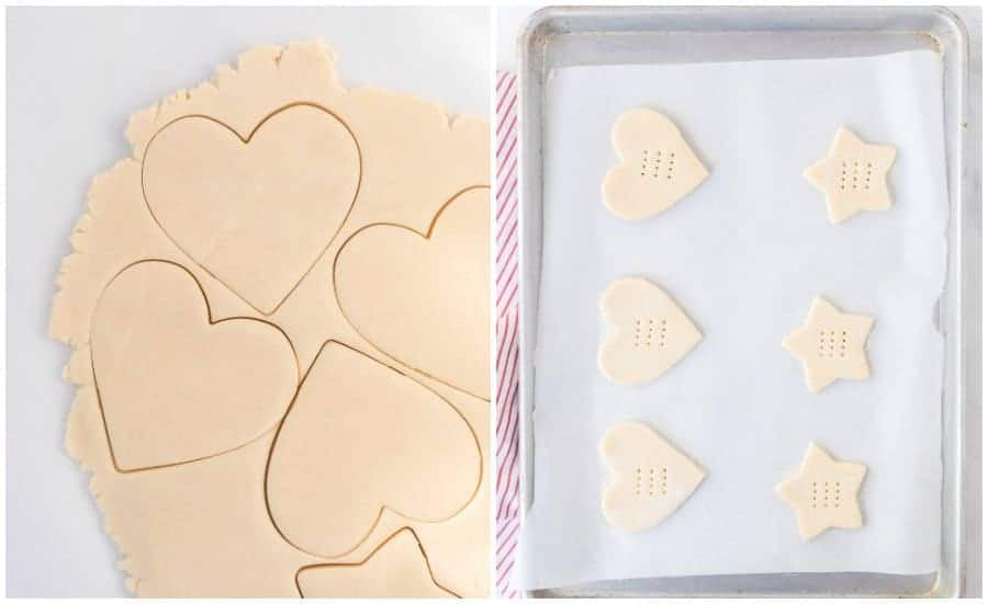 Two pictures, the picture on the left shows the rolled out dough with heart and star shapes cut out of it. On the left is a cookie sheet, covered with parchment paper with some heart and star shaped cookies on it, waiting to be cooked.