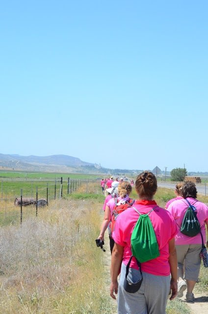 A group of women wearing pink tops and walking along a prairie field