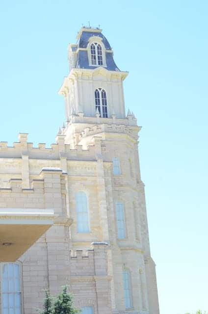 The Utah Manti Temple with white stone exterior