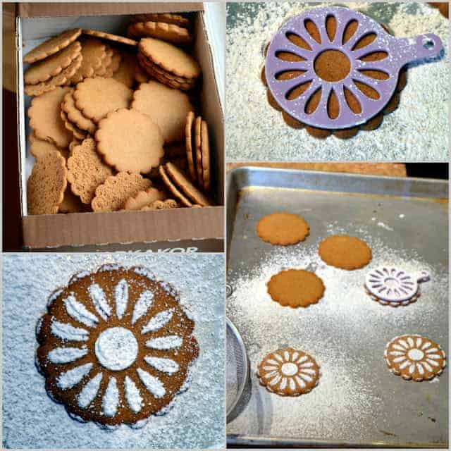 A collage of images of ginger cookies being decorated with a stencil and powdered sugar