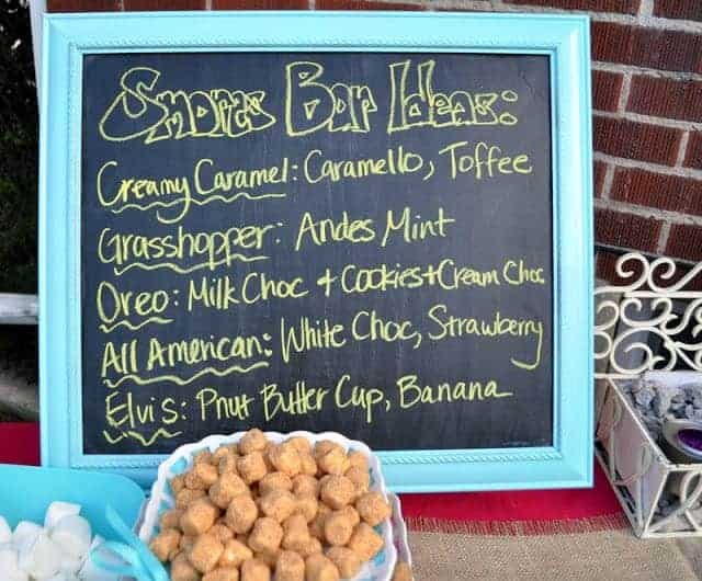 Chalkboard menu of Smores Bar ideas
