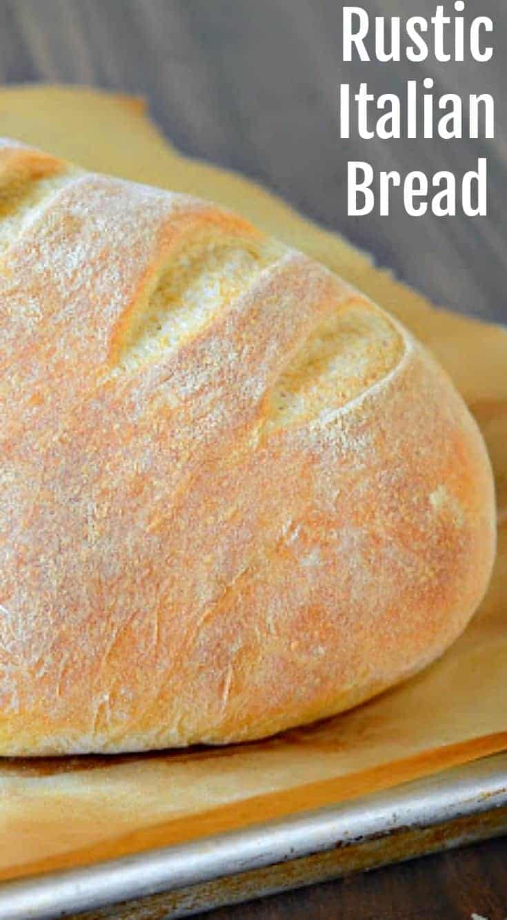 Rustic Italian Bread made with only 4 simple ingredients and some time, which makes the most amazing loaf of bread. The outside is extra crusty and the center is wonderfully fluffy and light.