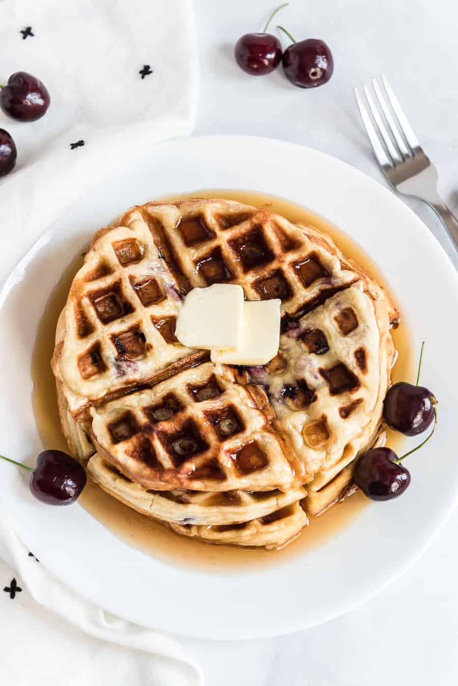 Sweet Cherry Waffles Recipe