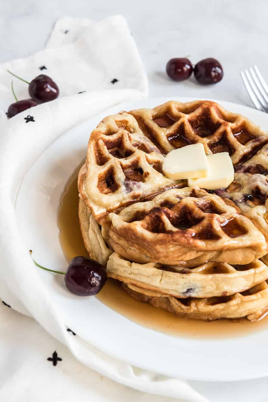 Easy Sweet Cherry Waffles Recipe