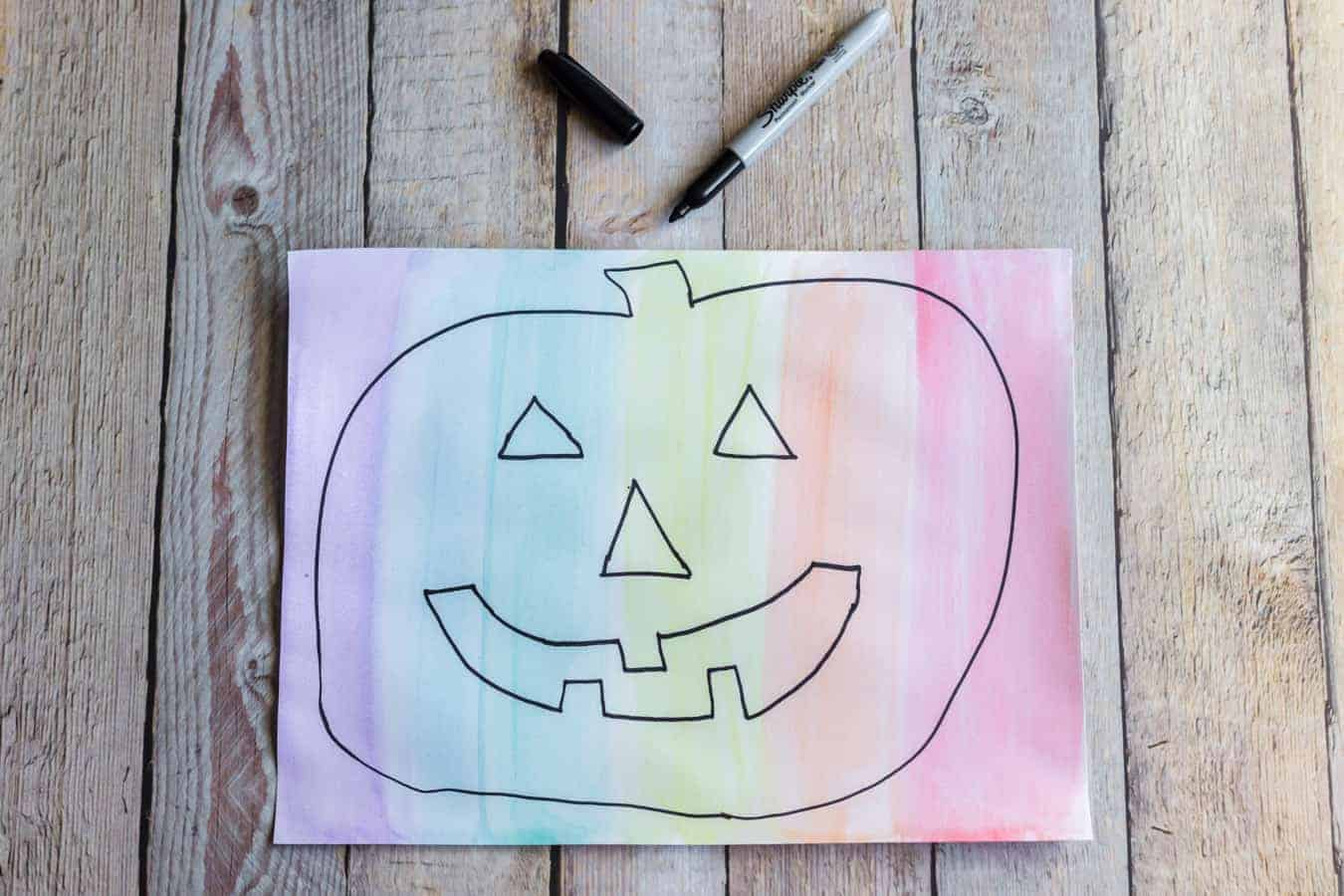 Image of a Rainbow Pumpkin Painting in Progress