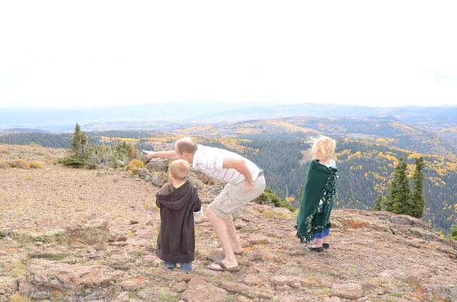 A father with two young children atop a scenic vista