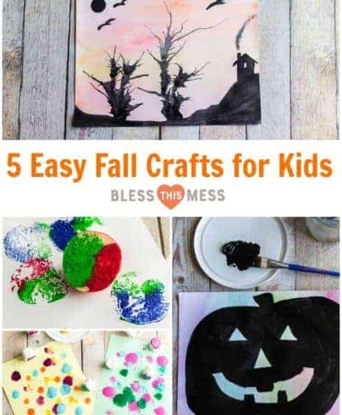 Title Image for 5 Easy Fall Crafts for Kids with examples of four fall crafts