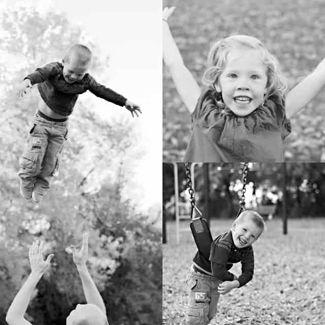 A collage of three black and white images of children playing outside