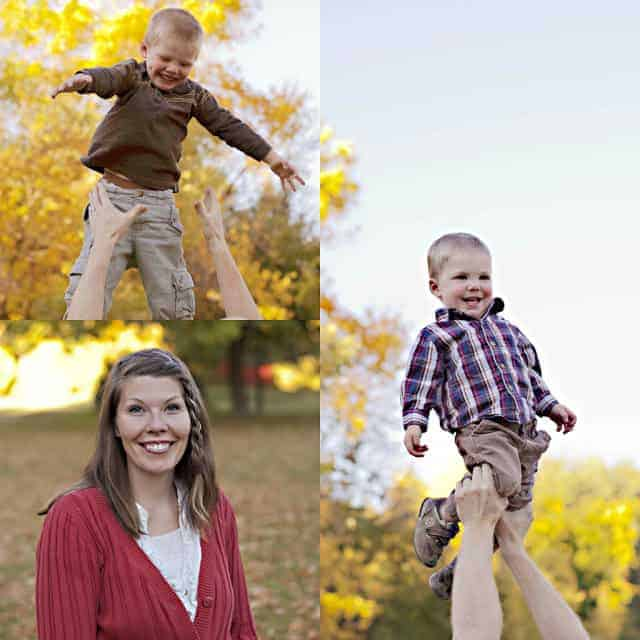 A collage of three outdoor portraits of a mom and two young boys