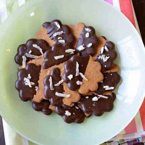 Dark Chocolate Dipped Cookies with Crystallized Ginger