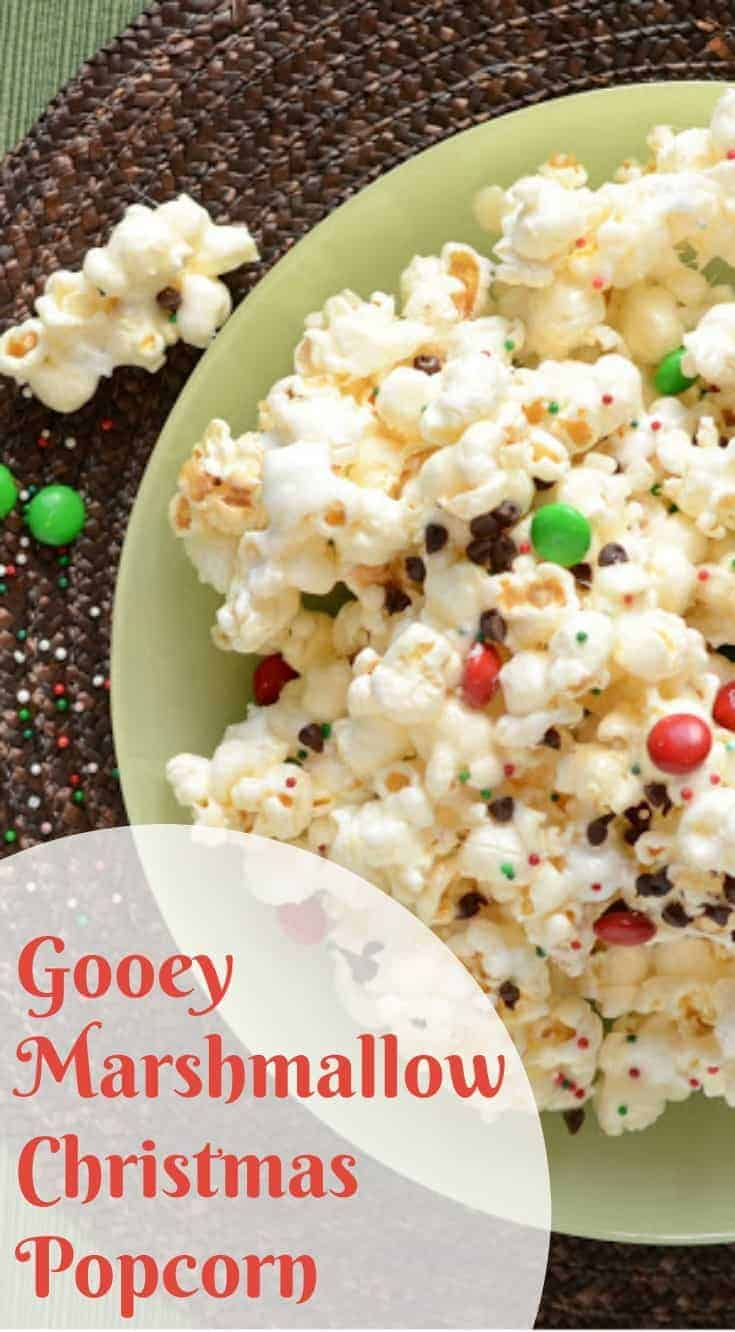 The best gooey Marshmallow Christmas Popcorn with Chocolate is a treat that your whole family will love!