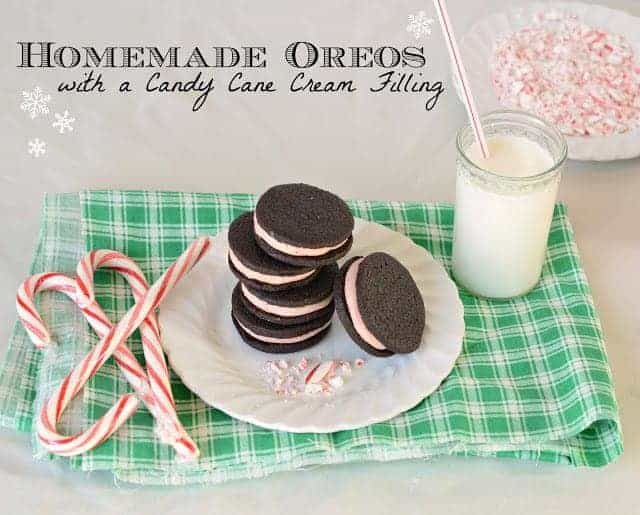 Dark chocolate oreo cookies made from scratch. The filling is a candy cane mint perfect for Christmas. Homemade Oreos are way better than store-bought!