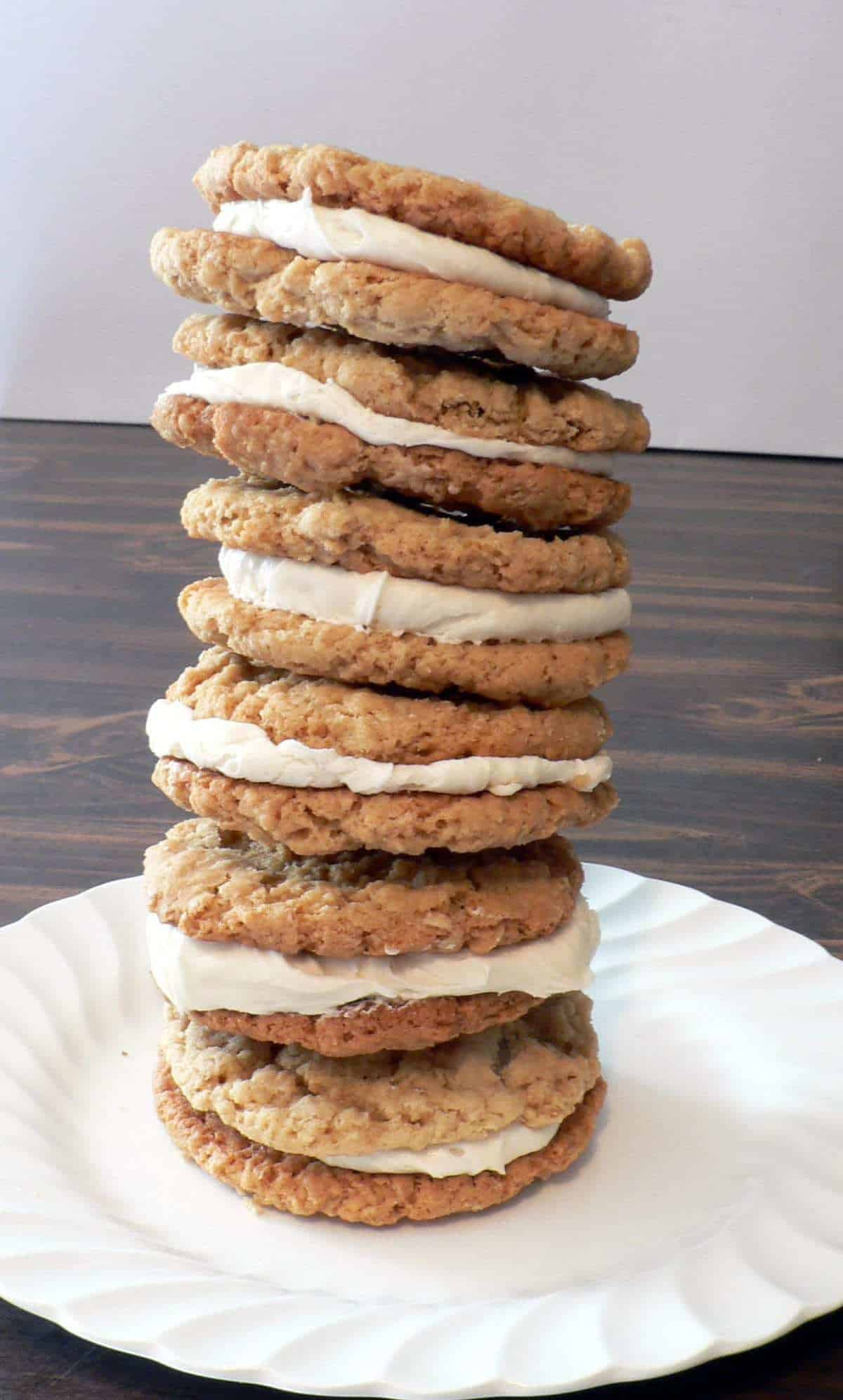 Amazing rich and fun homemade oatmeal cream pies made from a homemade cookies and a marshmallow fluff filling.