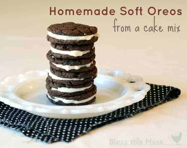 Homemade Soft Oreos from a cake mix