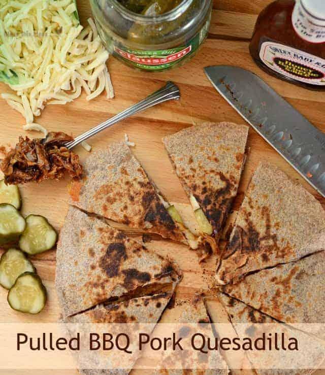 BBQ pork quesadillas with words