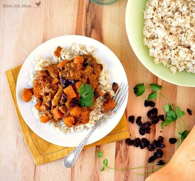 Curried coconut chicken with squash and dried cherries