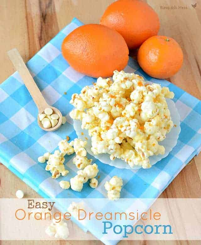 Orange Dreamsicle Popcorn with words