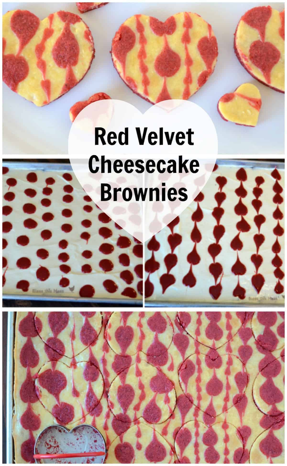 Various photos of red velvet cheesecake brownies with red hearts in the cheesecake layer.