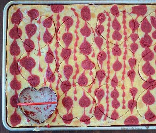 cheesecake bars, dessert with hearts, heart dessert, valentine's day dessert, red velvet dessert