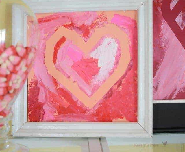 framed kid art, framed heart, Valentine heart craft
