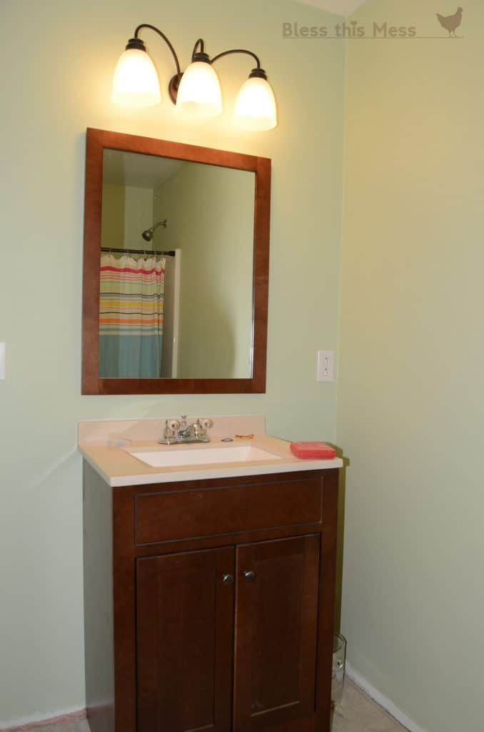 new bathroom vanity from Home Depot, how to redo a bathroom on a budget