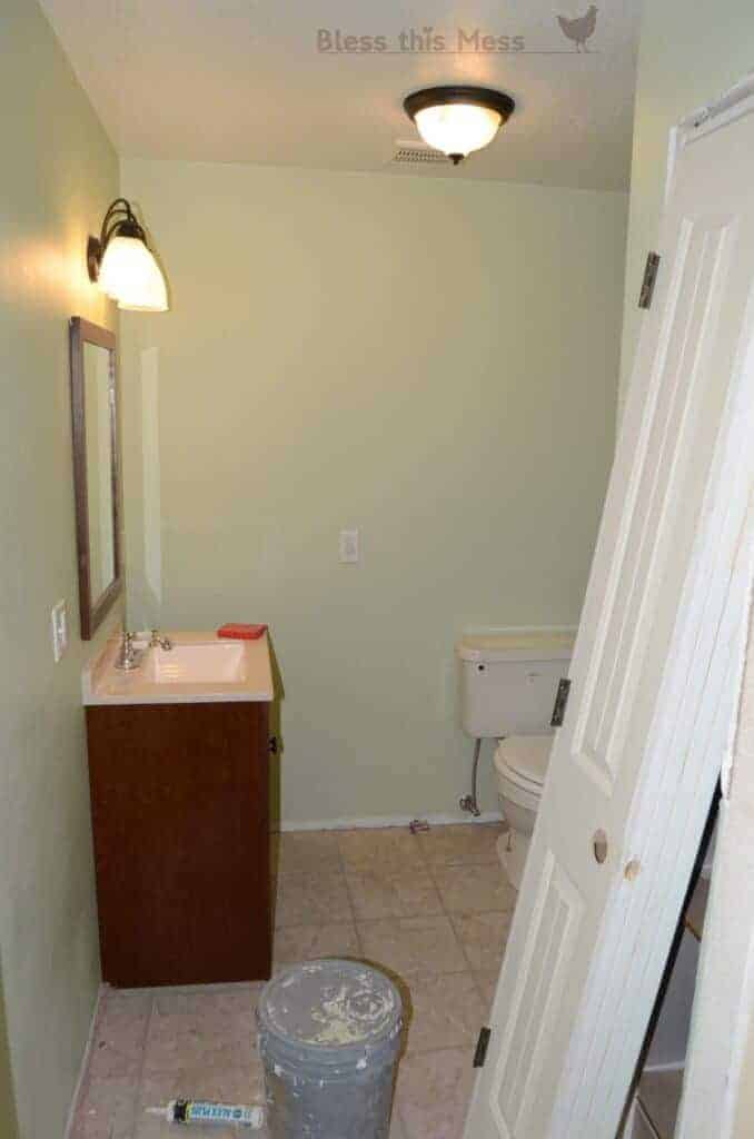 new paint bathroom, bathroom makeover, how to add a light fixture