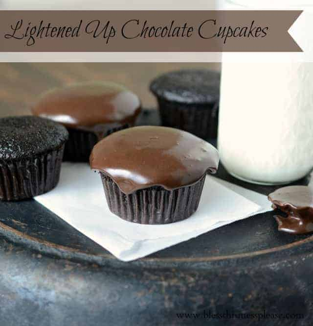 You won't believe these fluffy chocolate cupcakes are lightened up desserts. Topped with low-fat chocolate icing, no one ever guesses they're healthy!