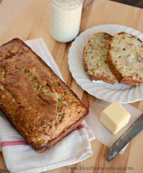 The best banana bread best recipe made with butter and a secret ingredient, Greek yogurt! Sweet, moist, and perfect every time.