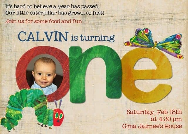 Very hungry caterpillar party invitation