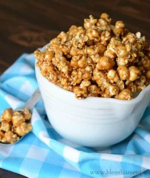 This caramel corn is everything that Gooey Caramel Corn should be. It is sweet, sticky, vanilla enhanced goodness that you'll want a glass of milk with. This is perfect for a crowd because it makes a bunch.