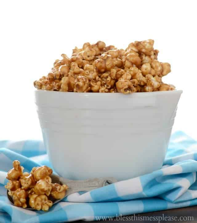 caramel popcorn recipe, stove top caramel corn recipe, easy caramel corn, caramel corn with corn syrup