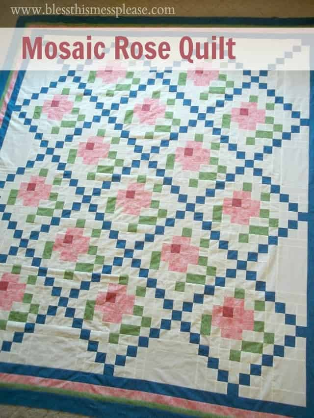 mosaic rose quilt top with words