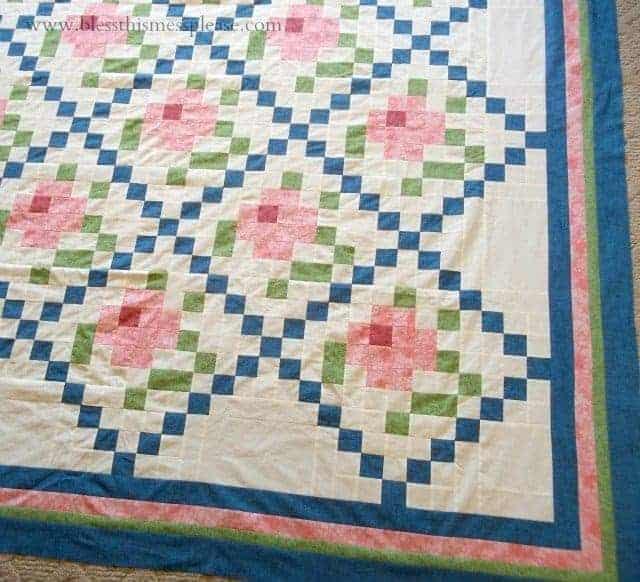 mosaic rose quilt, vintage quilt update