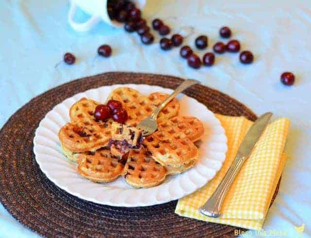 Whole Wheat waffles with sweet cherries1