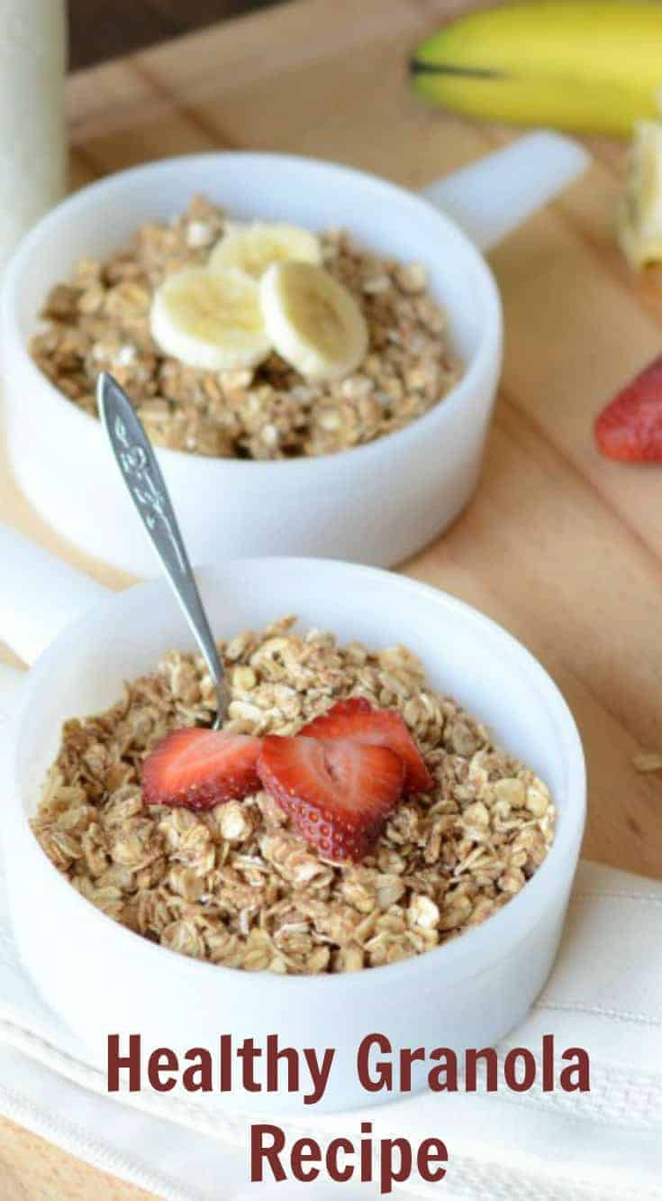 Healthy homemade granola made with oats, honey, coconut oil and your choice of add-ins. You'll love this simple healthy breakfast recipe.