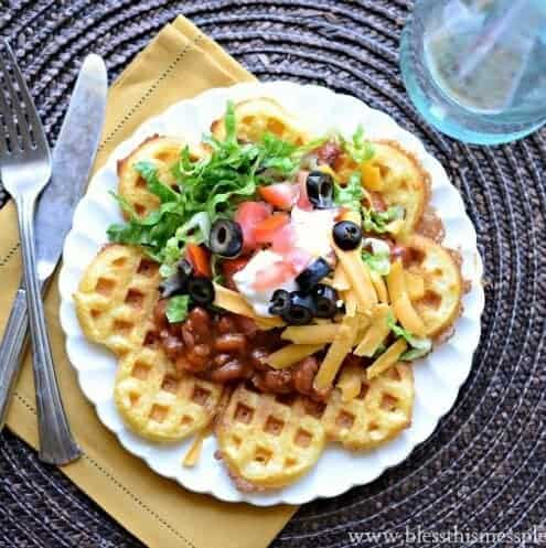Cornbread Waffles with Chili | Savory Waffle Recipe - Waffles for Dinner!