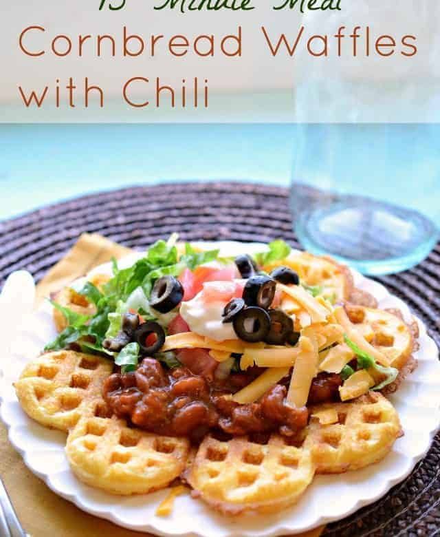 Cornbread Waffles with Chili – 15 minute dinner