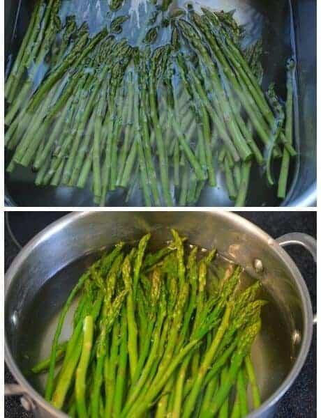 A collage of 6 images showing the steps to prepare and freeze fresh asparagus